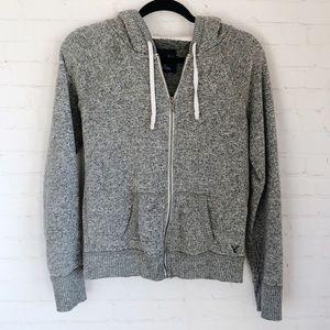 [American Eagle] gray full zip hoodie large
